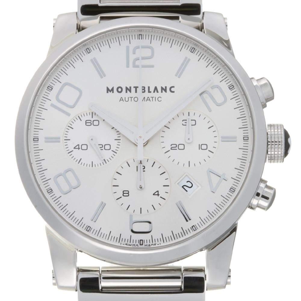 Montblanc Silver Stainless Steel Timewalker Chronograph 7069 Men's Wristwatch 43 MM