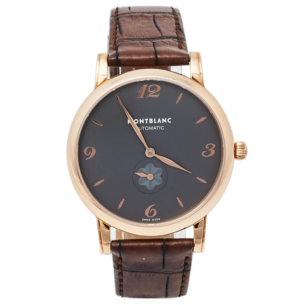 Montblanc Grey 18K Rose Gold & Leather Star Classique 107075 Men's Wristwatch 39 mm