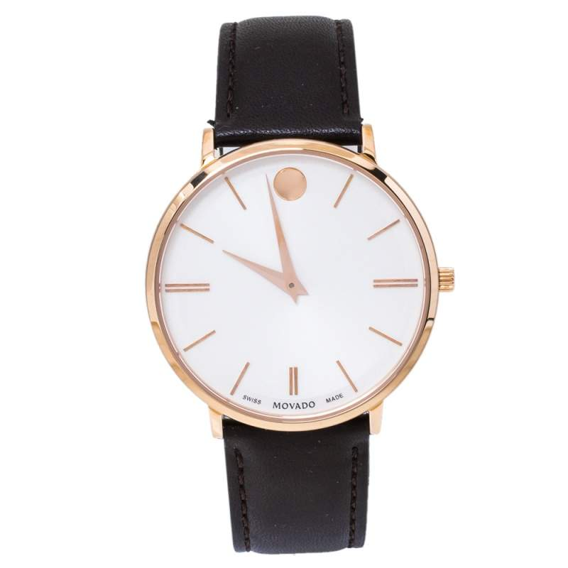 Movado White Rose Gold Tone Stainless Steel Leather Ultra Slim 0607089 Men's Wristwatch 40 mm