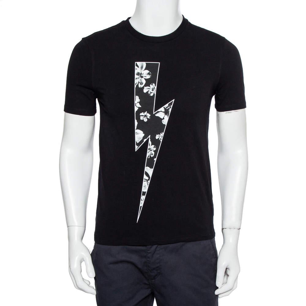 Neil Barrett Black Floral Bolt Printed Crewneck T-Shirt S