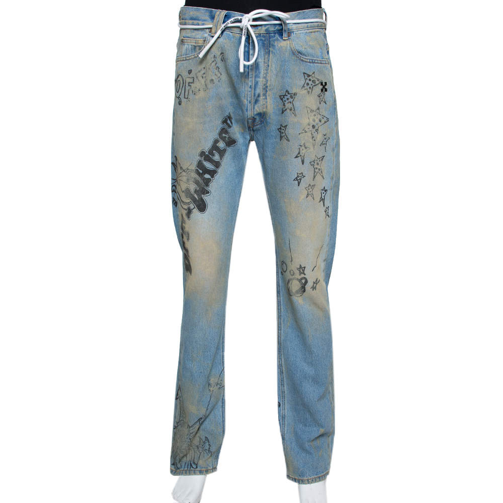 Off-White Blue Wizard Extreme Bleach Denim Relaxed Fit Jeans M