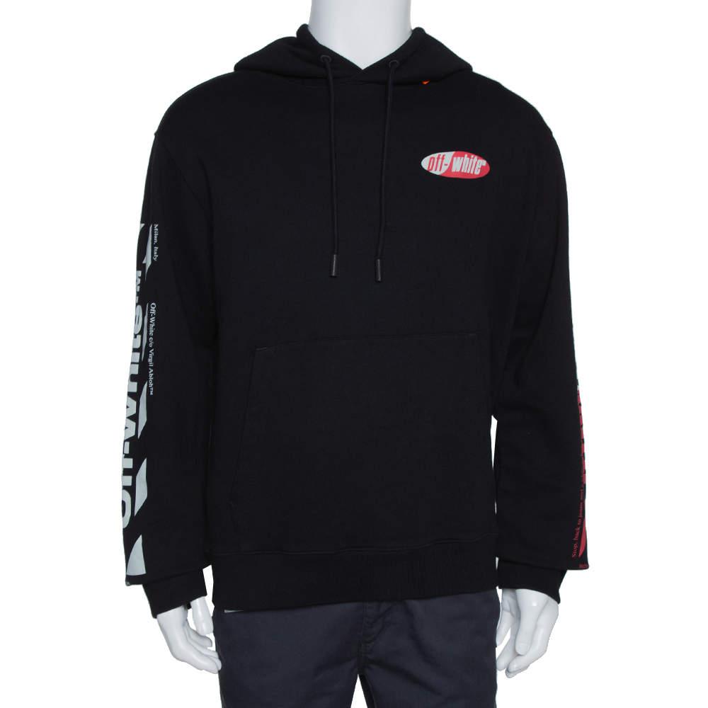 Off-White Black Diagonal Split Logo Cotton Slim Hoodie XL