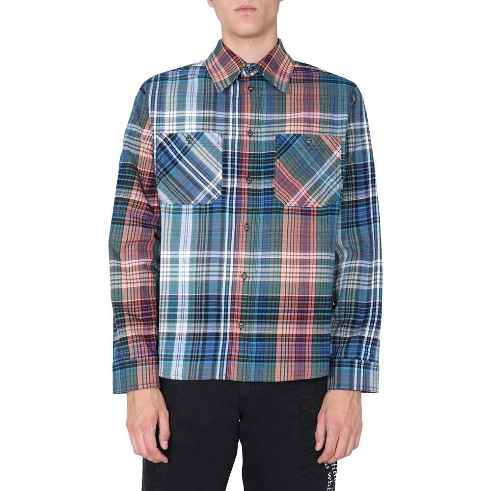 Off-White Blue Flannel Shirt Size L