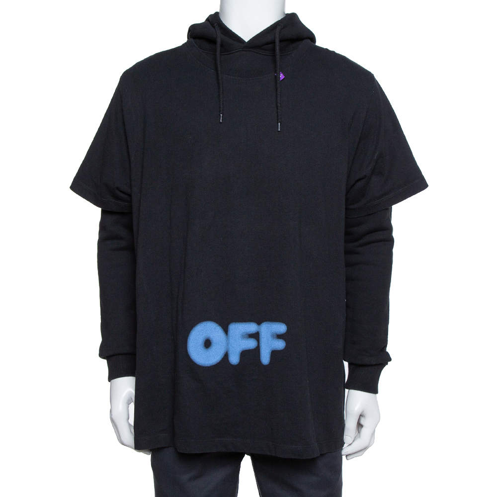 Off-White Black Blurred Off Print Cotton T-Shirt Detail Hoodie S