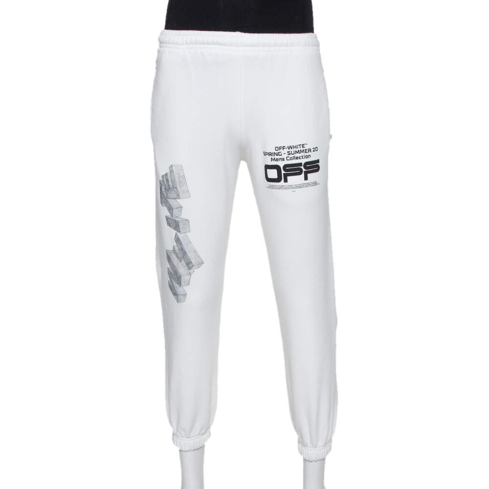 OFF-White  White Logo Printed Cotton Joggers S