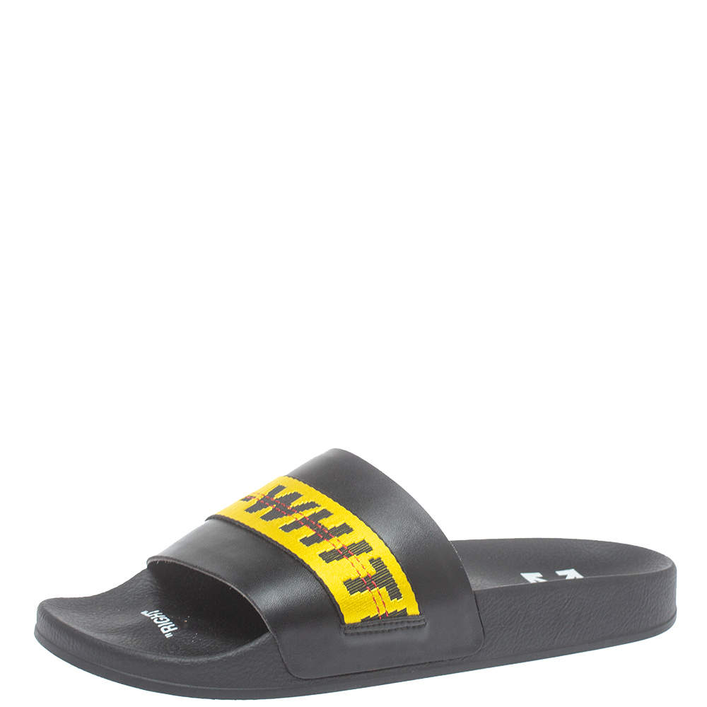 Off White Black/Yellow Leather And Canvas Slide Sandals Size 44
