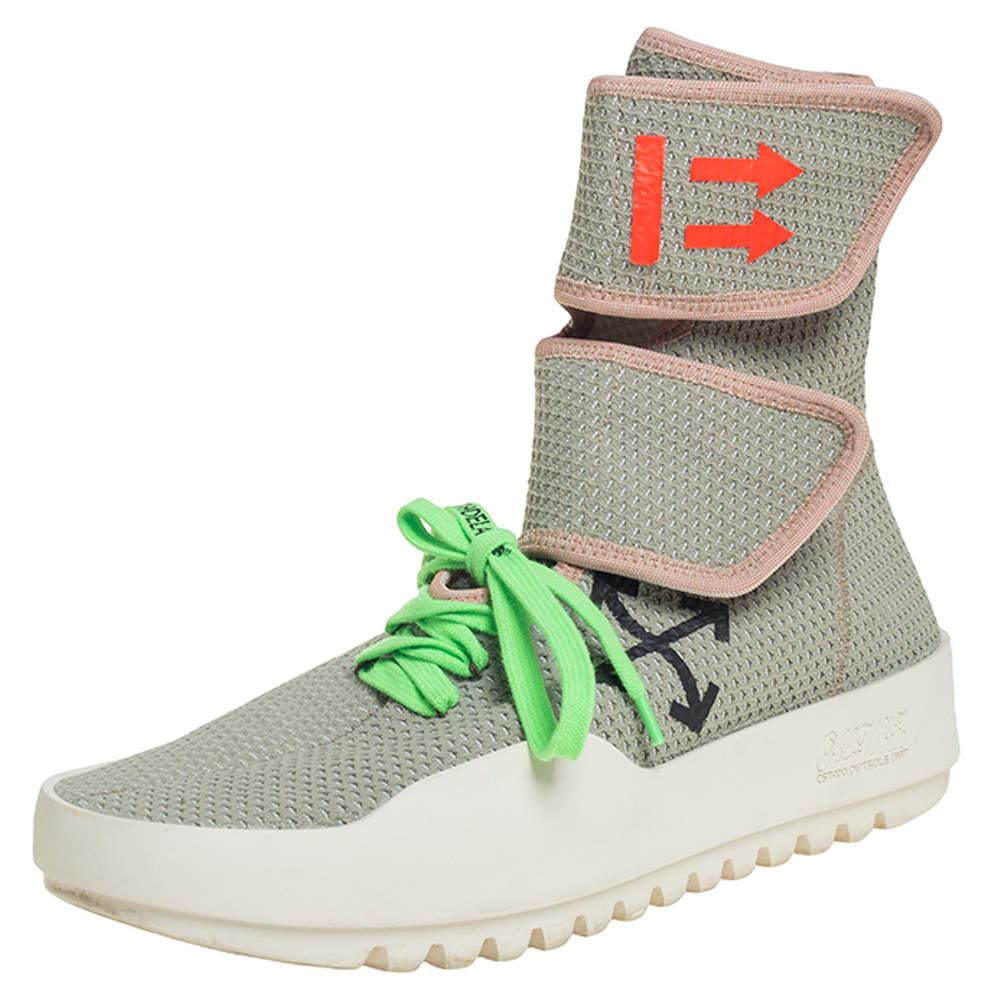 Off-White Pale Green Stretch Fabric Moto Wrap High Top Sneakers Size 42
