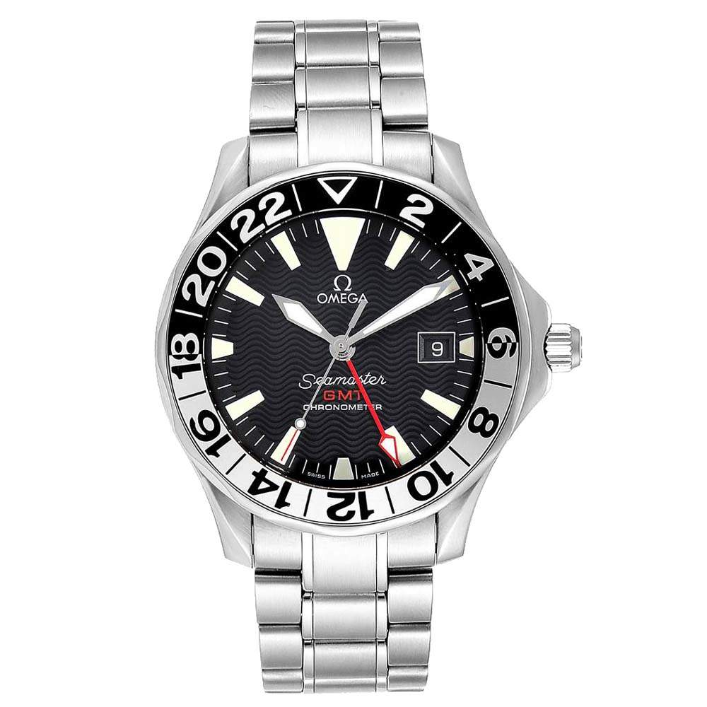 Omega Black Stainless Steel Seamaster GMT Gerry Lopez Limited Edition 2536.50.00 Men's Wristwatch 41 MM