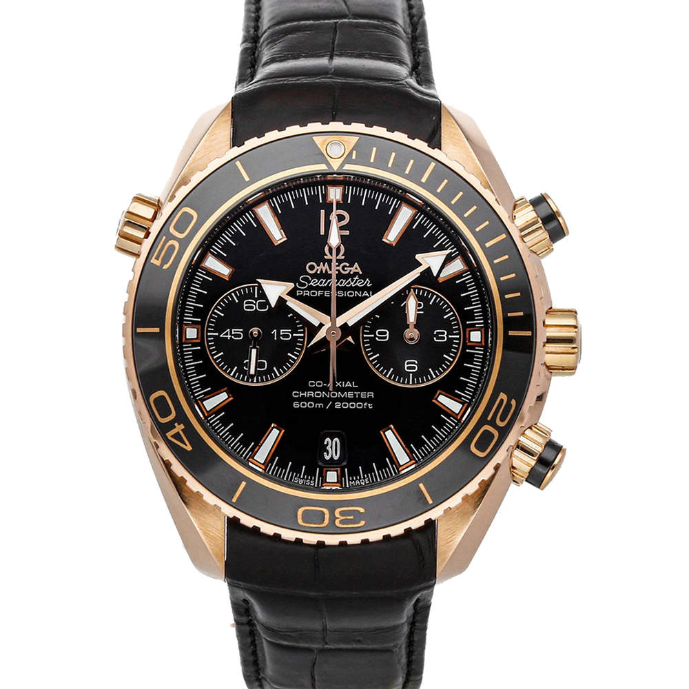Omega Black 18K Rose Gold Seamaster Planet Ocean 600m Chronograph 232.63.46.51.01.001 Men's Wristwatch 45.5 MM