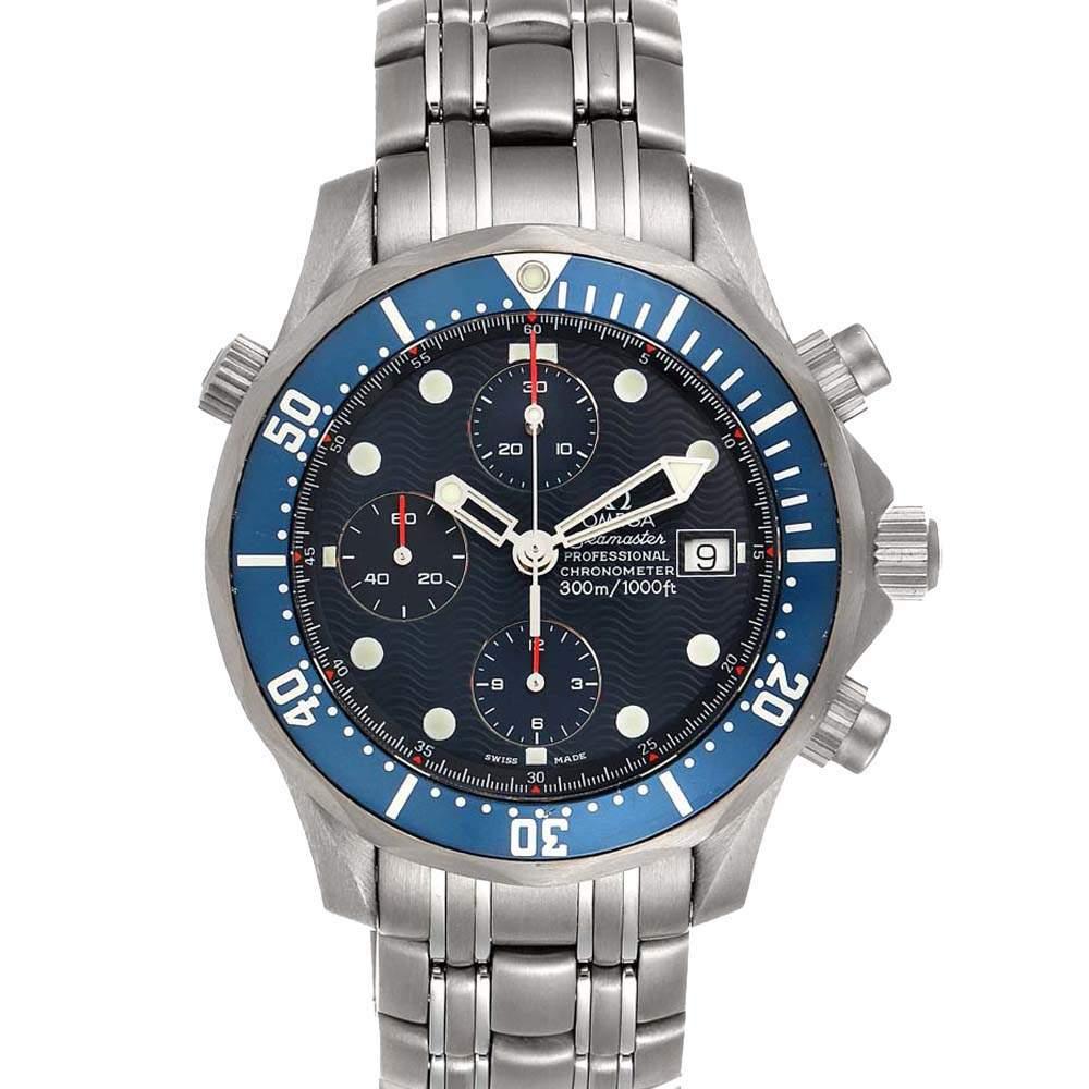 ساعة يد رجالية أوميغا سي ماستر كرونو دايفر 2298.80.00  تيتانيوم زرقاء 41.5 مم