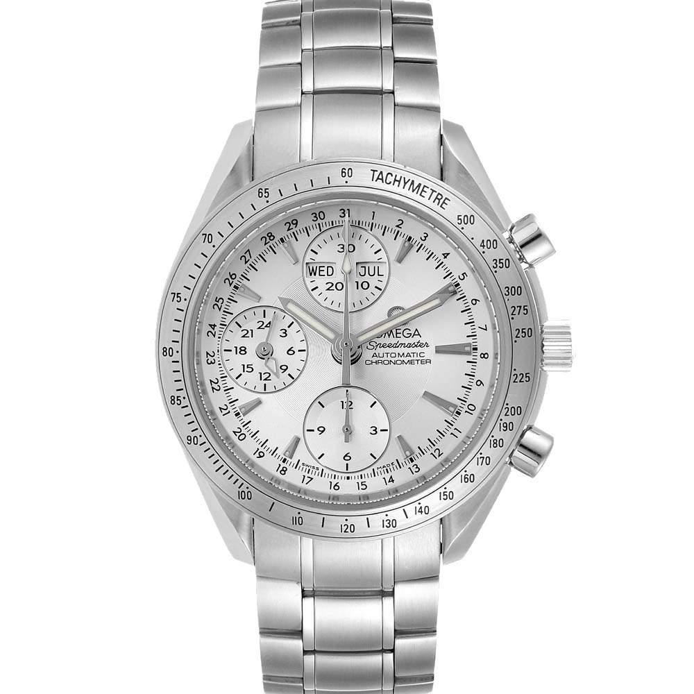 Omega Silver Stainless Steel Speedmaster Day Date 3221.30.00 Men's Wristwatch 40 MM