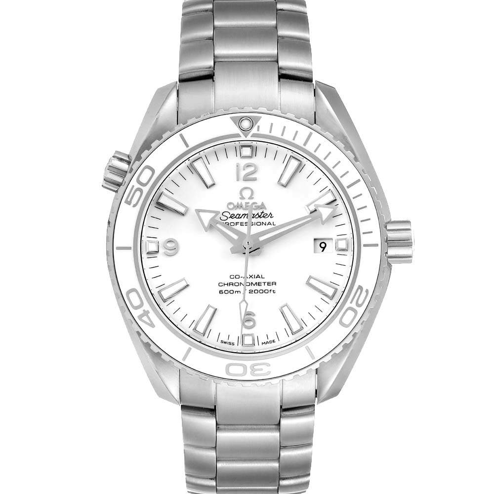 Omega White Stainless Steel Seamaster Planet Ocean 600M 232.30.42.21.04.001 Men's Wristwatch