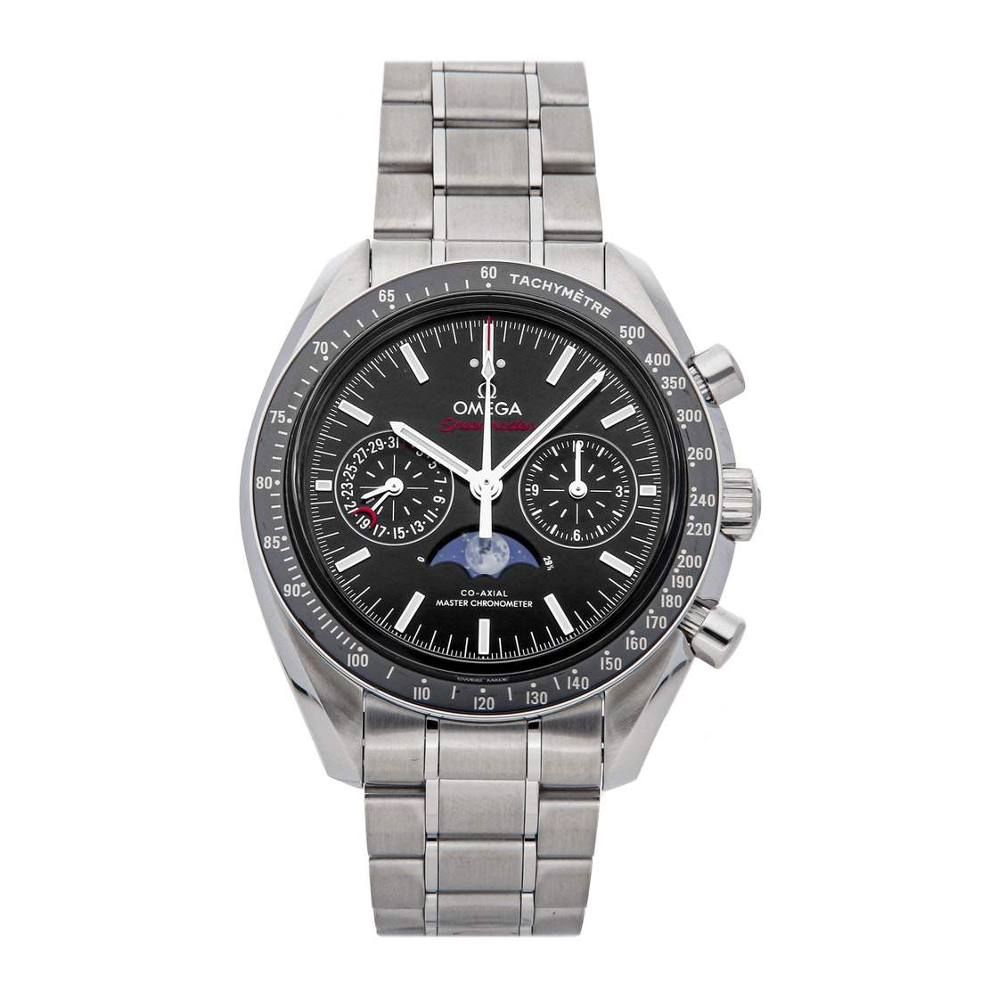Omega Black Stainless Steel Speedmaster Moon Phase Chronograph 304.30.44.52.01.001 Men's Wristwatch 44 MM