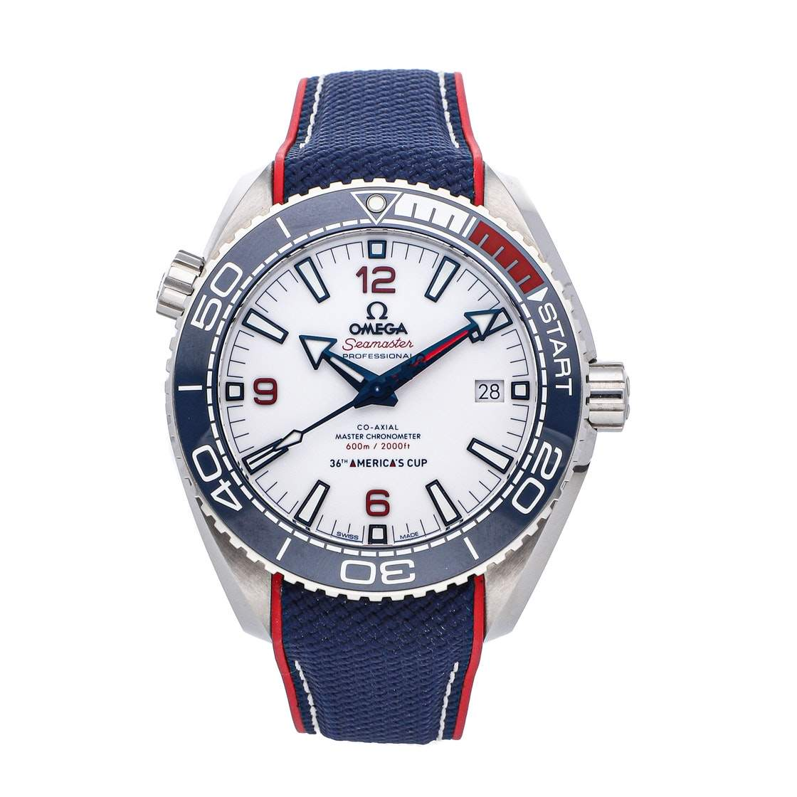 Omega White Stainless Steel Seamaster Planet Ocean 600M America's Cup Limited Edition 215.32.43.21.04.001 Stainless steel Men's Wristwatch 43.5 MM