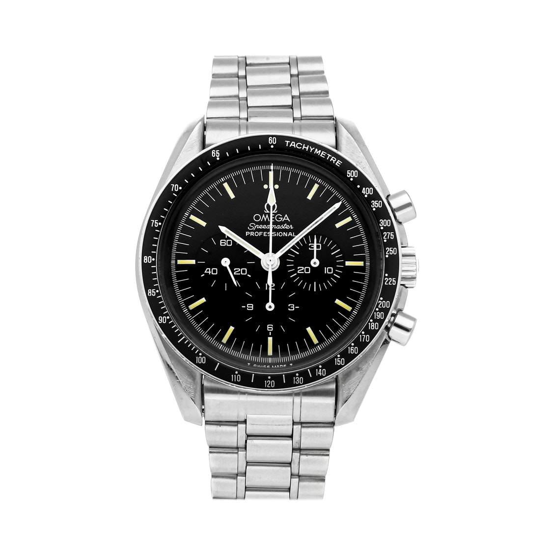 Omega Black Stainless Steel Speedmaster Moonwatch 145.022 Men's Wristwatch 42 MM