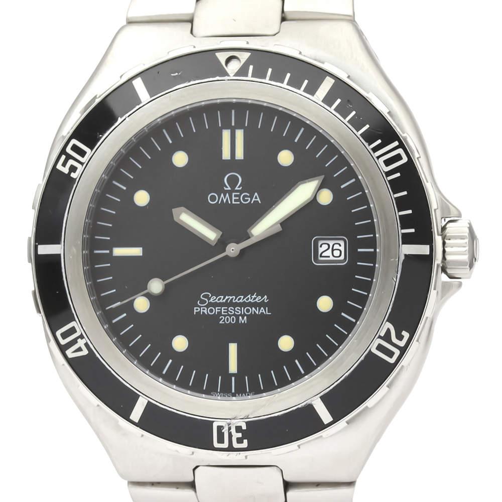 Omega Black Stainless Steel Seamaster 396.1062 Quartz Men's Wristwatch 38 MM