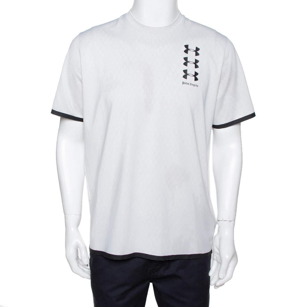 Palm Angels X Under Armour White Logo Print Jersey T-Shirt M