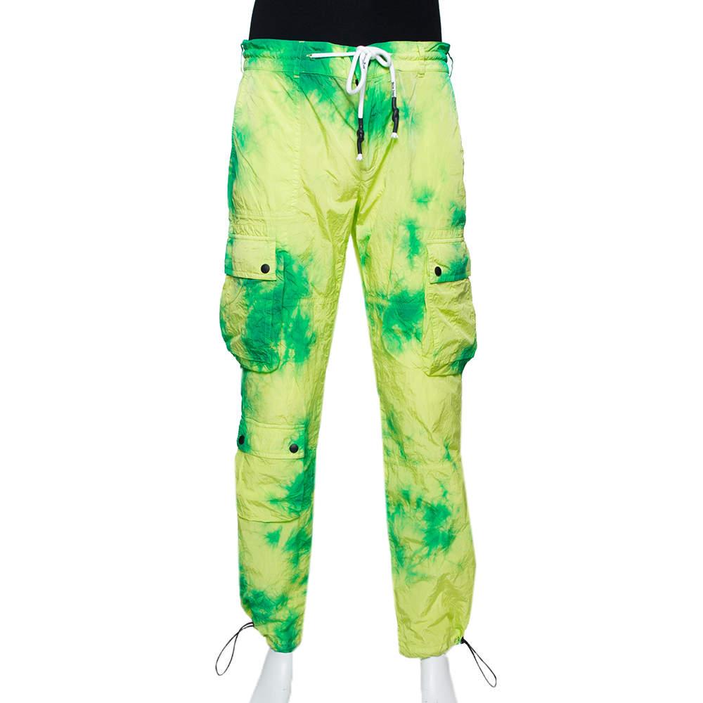 Palm Angels Fluorescent Tie Dye Nylon Cargo Pants L