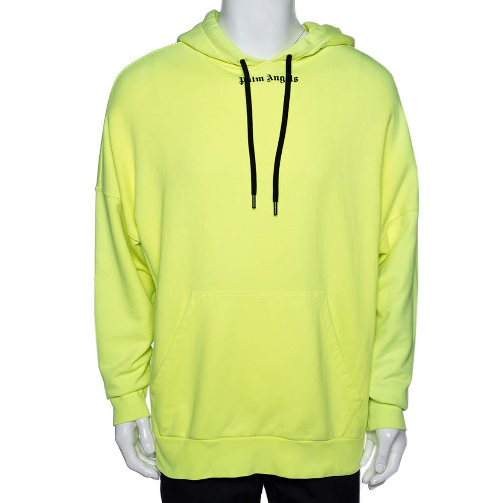 Palm Angels Fluorescent Yellow Logo Print Cotton Hoodie M