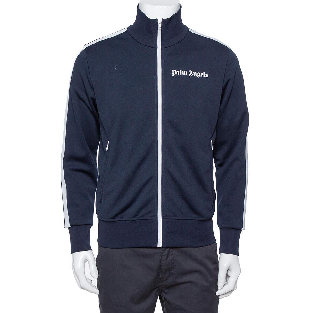 Palm Angels Navy Blue Jersey Contrast Trim Detail  Track Jacket M