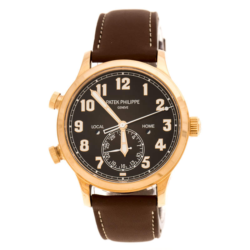 Patek Philippe Black 18K Rose Gold Calatrava Pilot Travel Time 5524R-001 Men's Wristwatch 42 mm