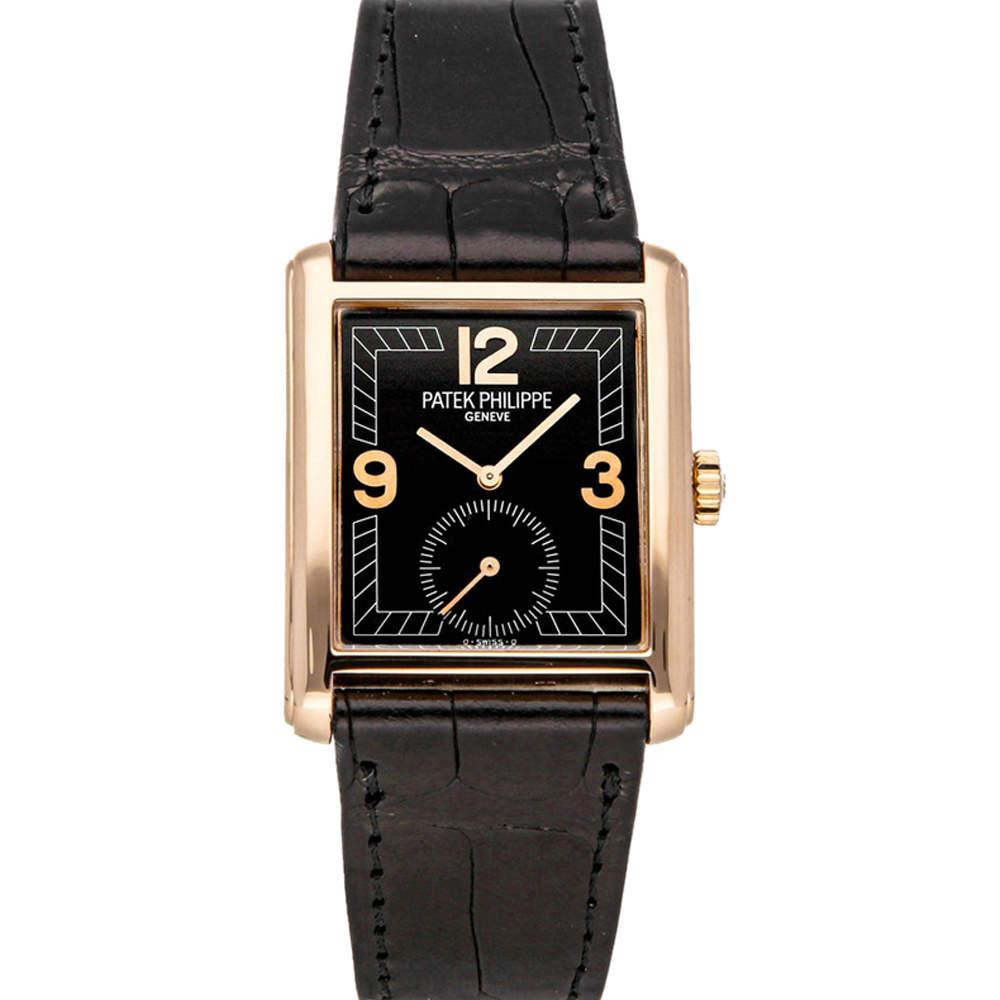 Patek Philippe Black 18K Rose Gold Gondolo 5014R-001 Men's Wristwatch 27 x 35 MM