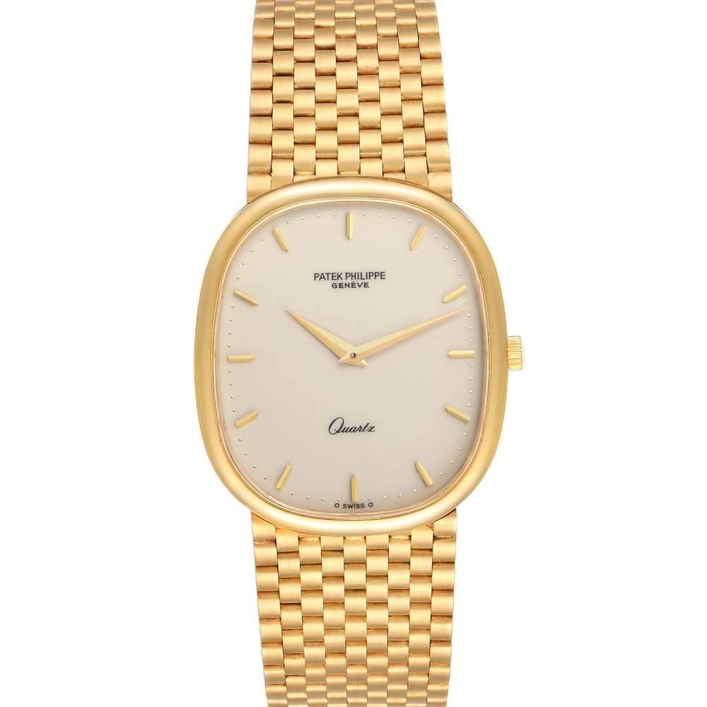 Patek Philippe Ivory 18k Yellow Gold Grand Ellipse 3838 Men's Wristwatch 36 x 31 MM