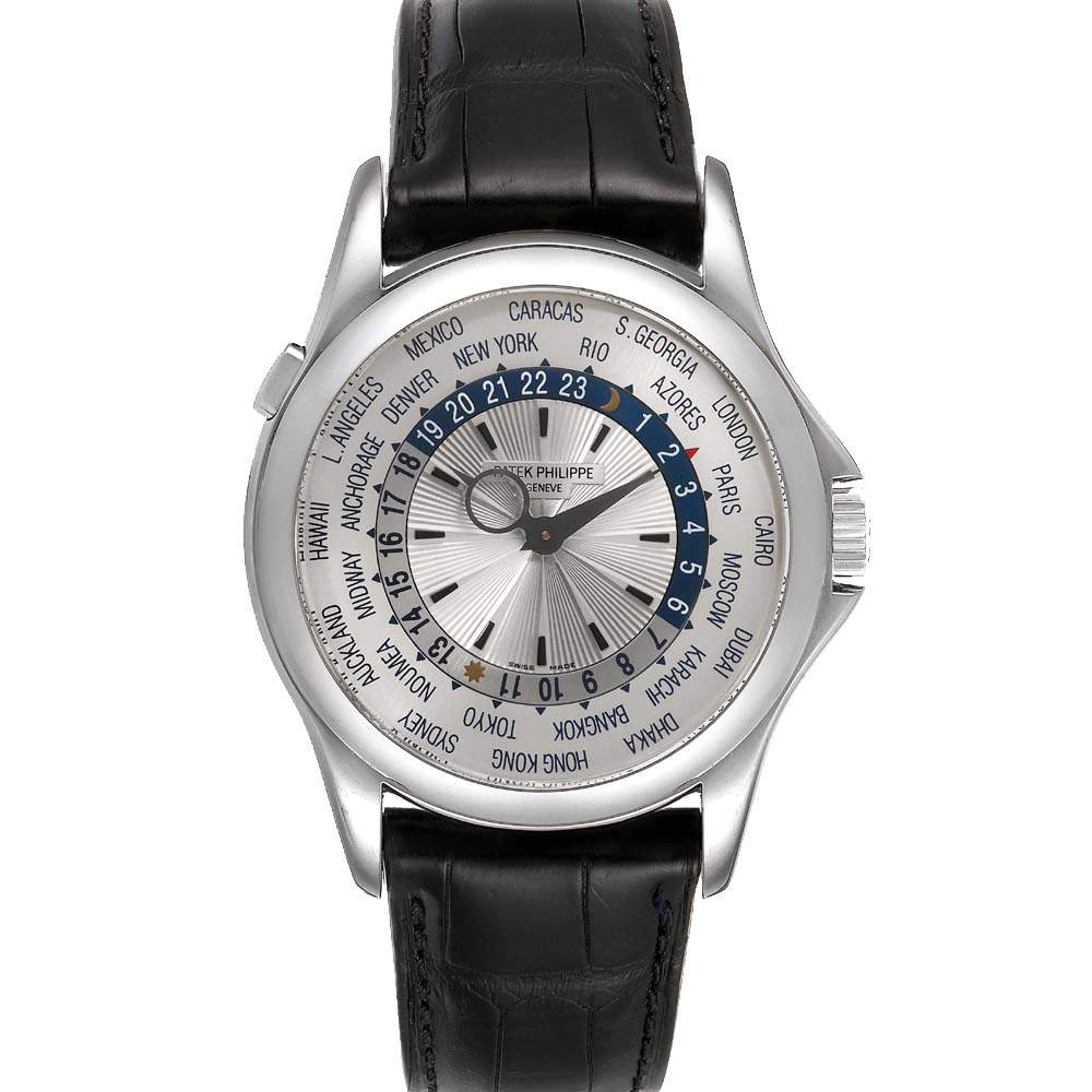 Patek Philippe Silver 18K White Gold World Time Complications 5130 Men's Wristwatch 39.5 MM