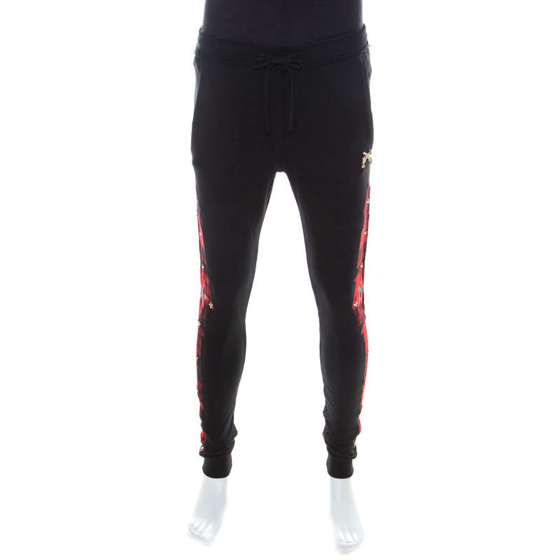 Philipp Plein Couture Black and Red Knit Tartan Panel Jogger Pants S