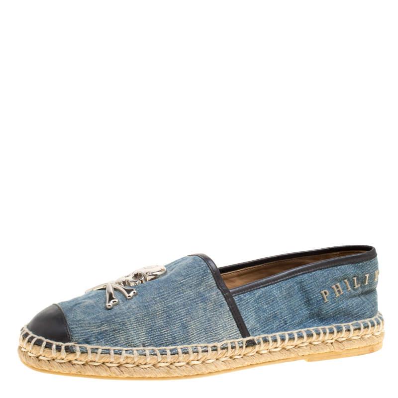 حذاء إسبادريلز فيليب بلين نيويورك جلد ودنيم سوداء/ زرقاء مقاس 40