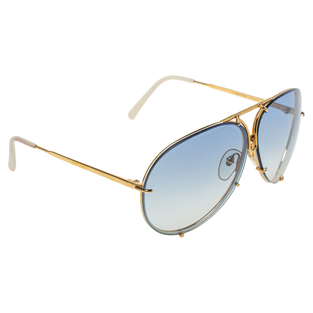 نظارة شمسية بورش أفياتور بي8478 متدرجة أزرق/ لون ذهبي ديزاين