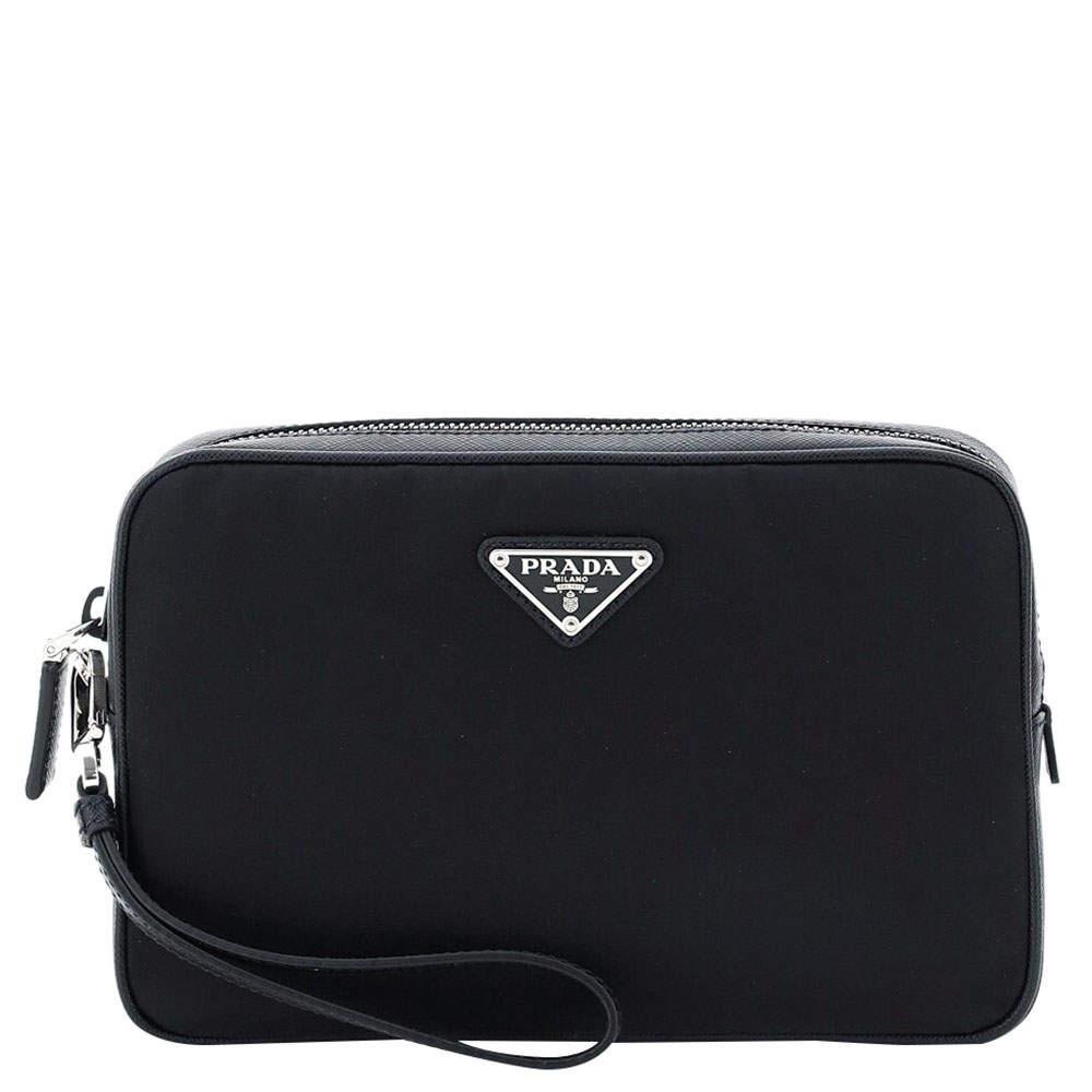 Prada Black Nylon Saffiano Leather Pouch