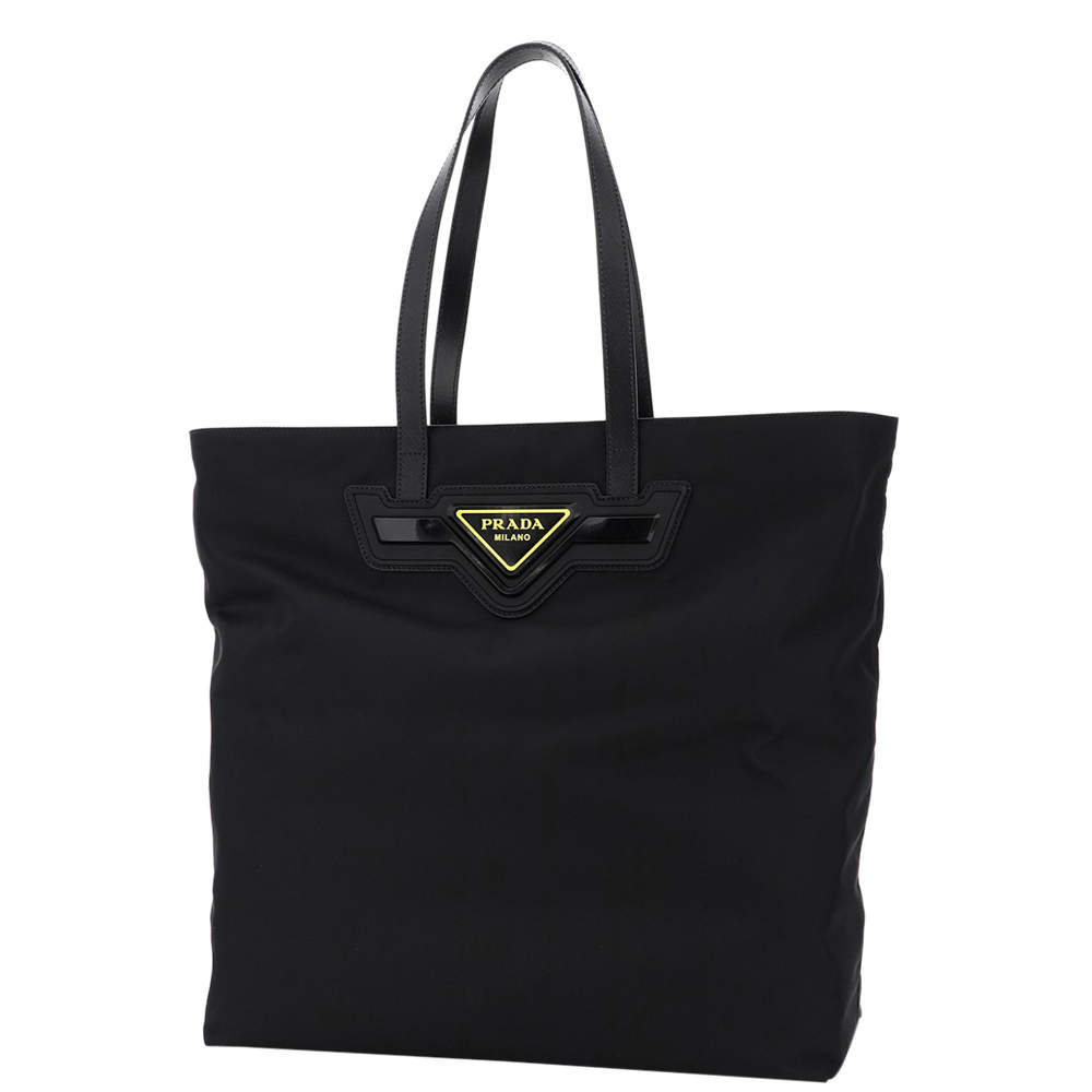 Prada Black Nylon Leather Tote Bag