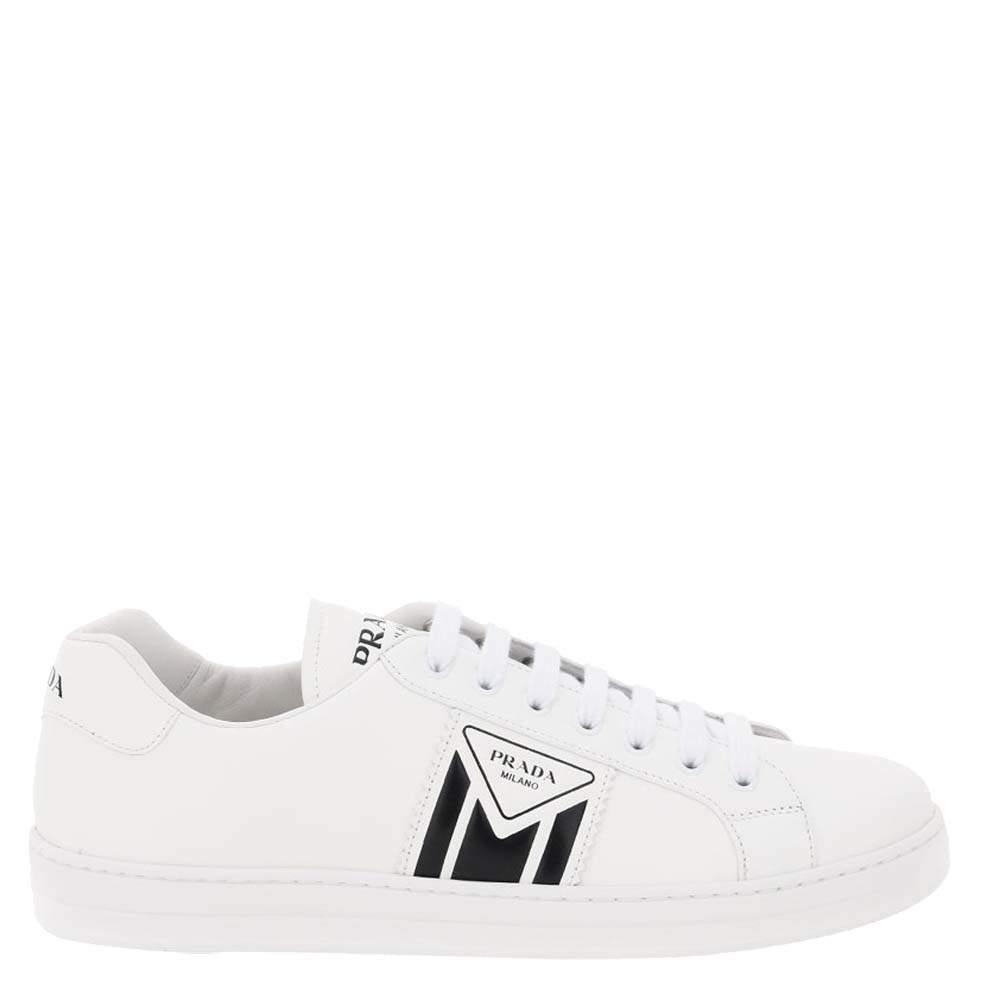 Prada White New Avenue Leather Sneakers Size EU 42 UK 8
