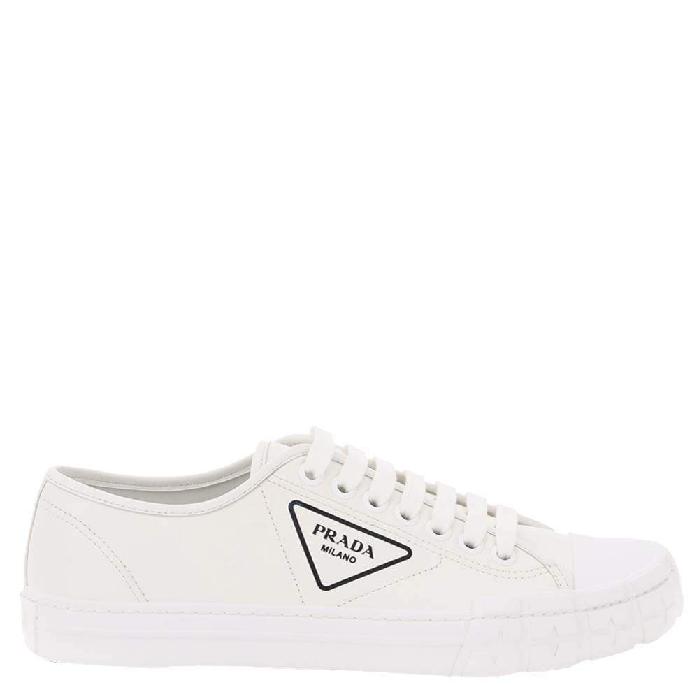 Prada White Leather Wheel Sneakers Size EU 44 UK 10