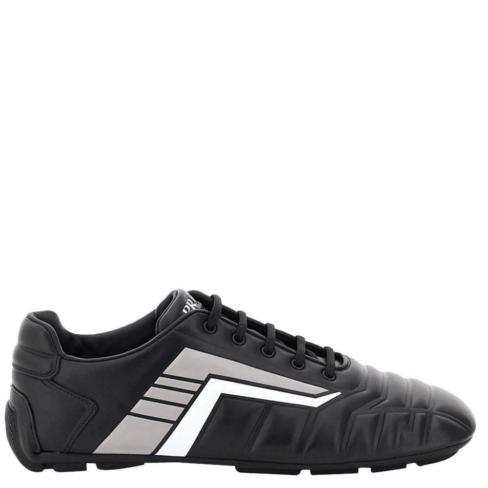 Prada Black/Grey Rev Leather Sneakers EU 42 UK 8