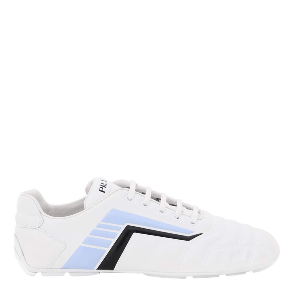 Prada White/Grey Rev Leather Sneakers EU 36