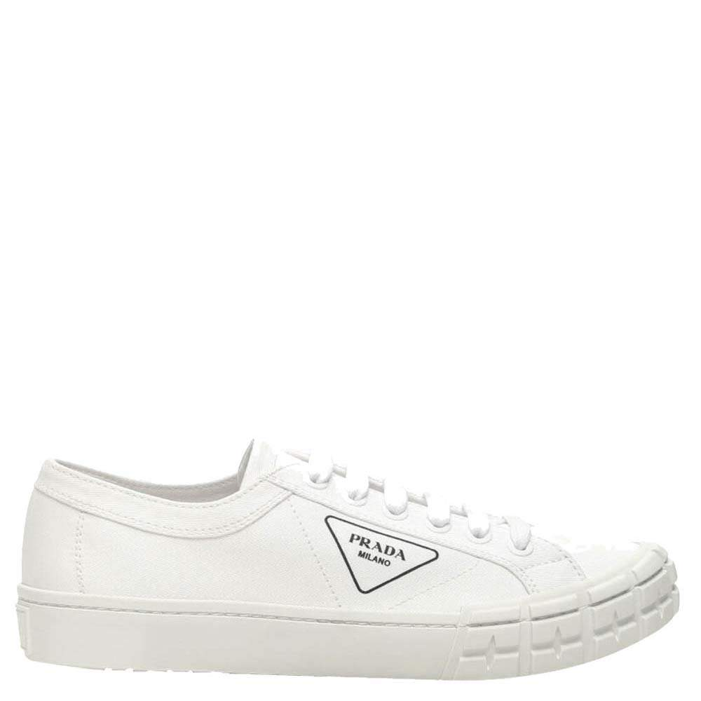 Prada White Gabardine Fabric Wheel Sneakers Size EU 44 UK 10