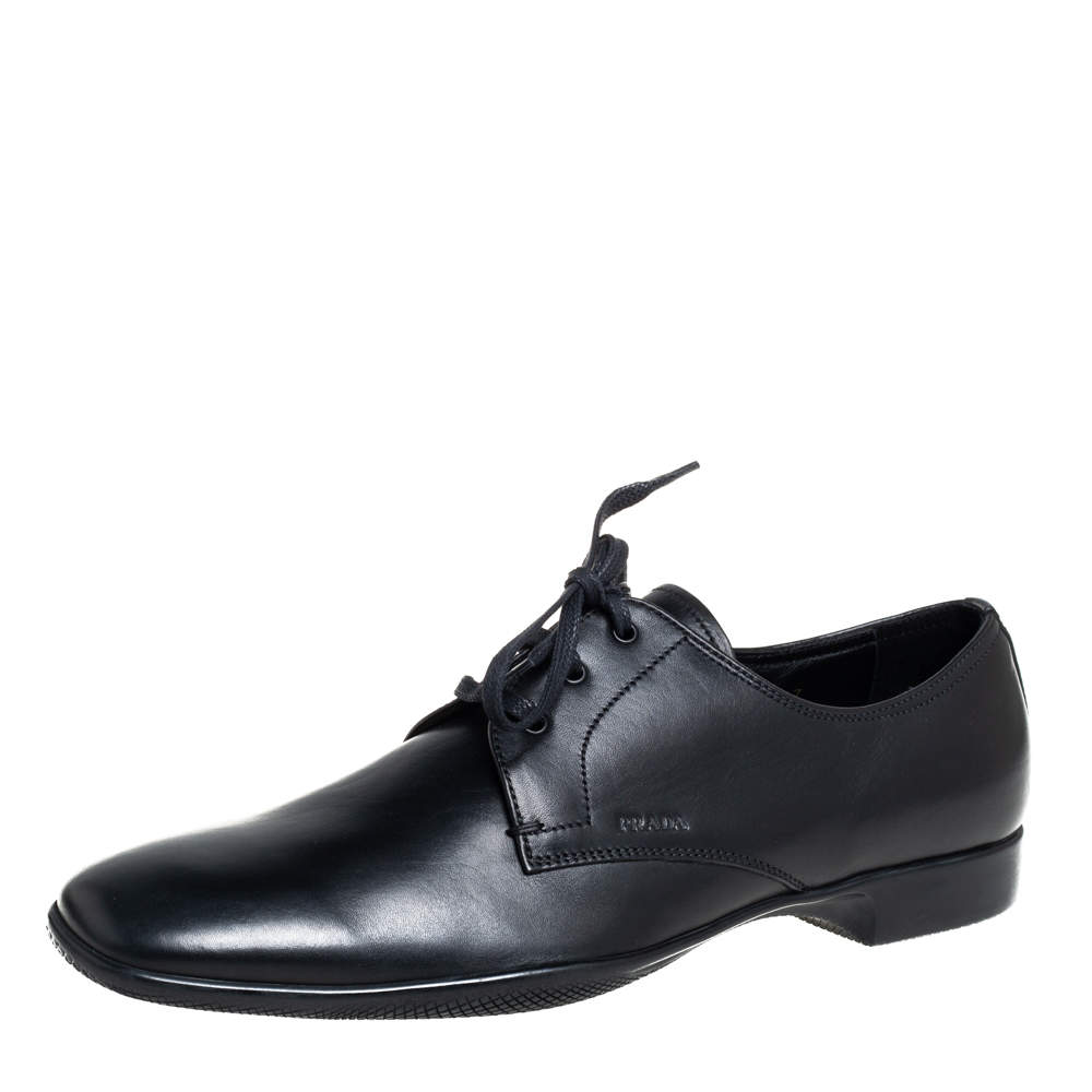 Prada Black Leather Lace Up Derby Size 41