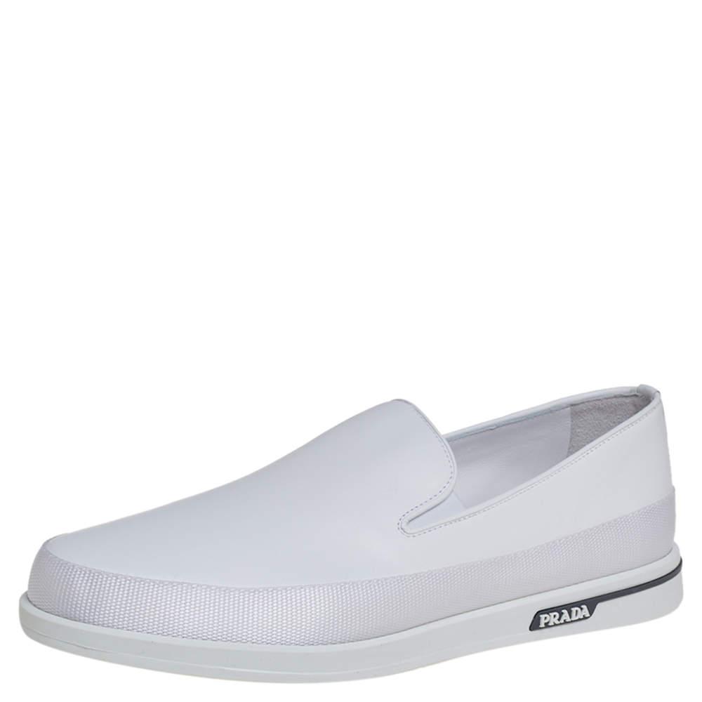 Prada Saint Tropez White Leather Slip-On Sneakers Size 43