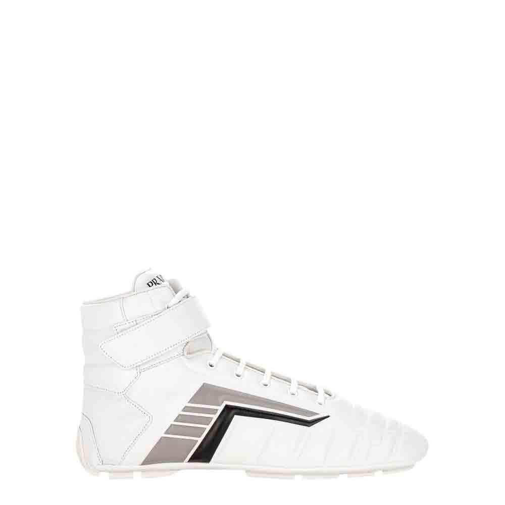 Prada White Leather Rev High-Top Sneakers Size UK 8 EU 42