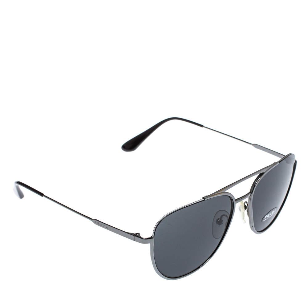 نظارة شمسية برادا أفياتور أس بي أر 50يو رمادية/ لون فضي داكن