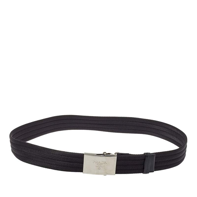 Prada Black Nylon and Leather Buckle Belt 95CM
