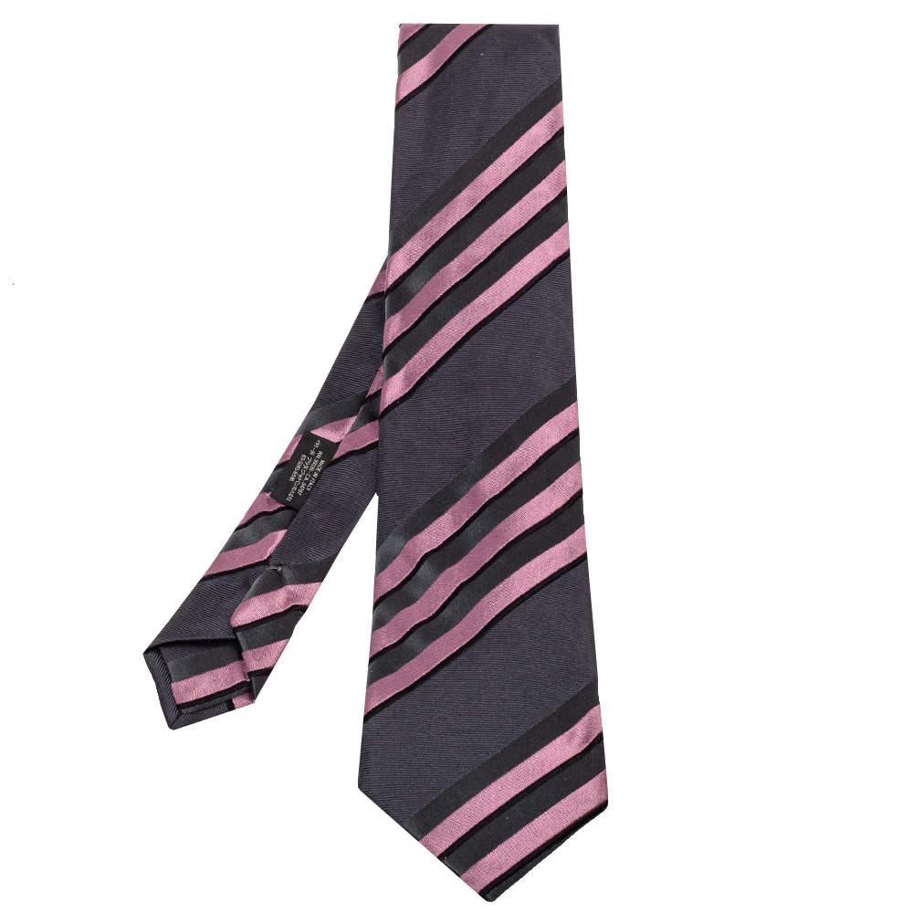 Prada Grey & Pink Diagonal Striped Silk Tie