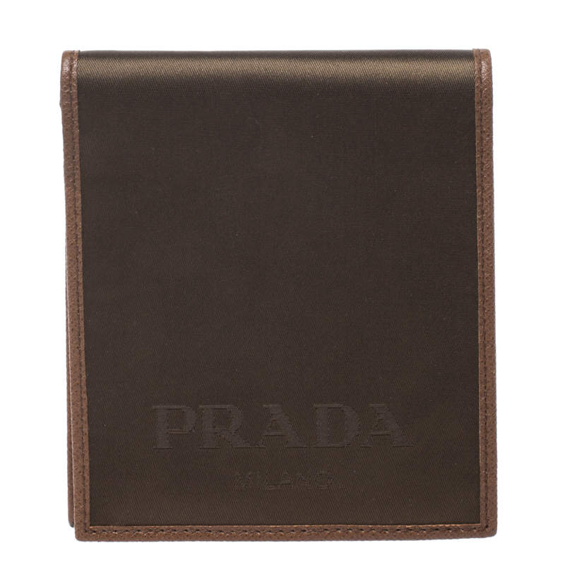 Prada Metallic Brown Satin Bifold Wallet