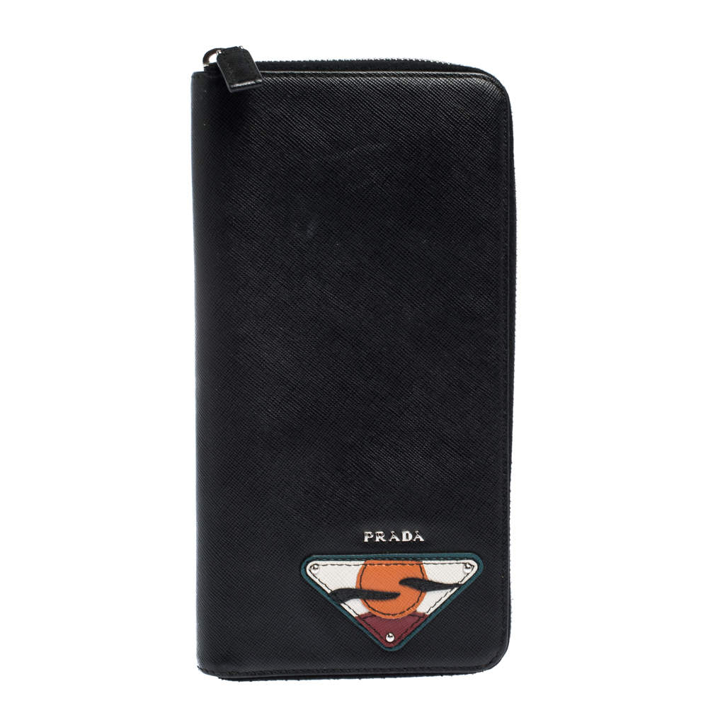 Prada Black Saffiano Lux Leather Zip Around Organizer