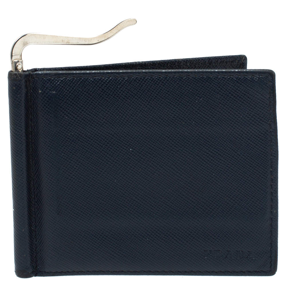 Prada Navy Blue Saffiano Lux Leather Money Clip Bi-fold Wallet