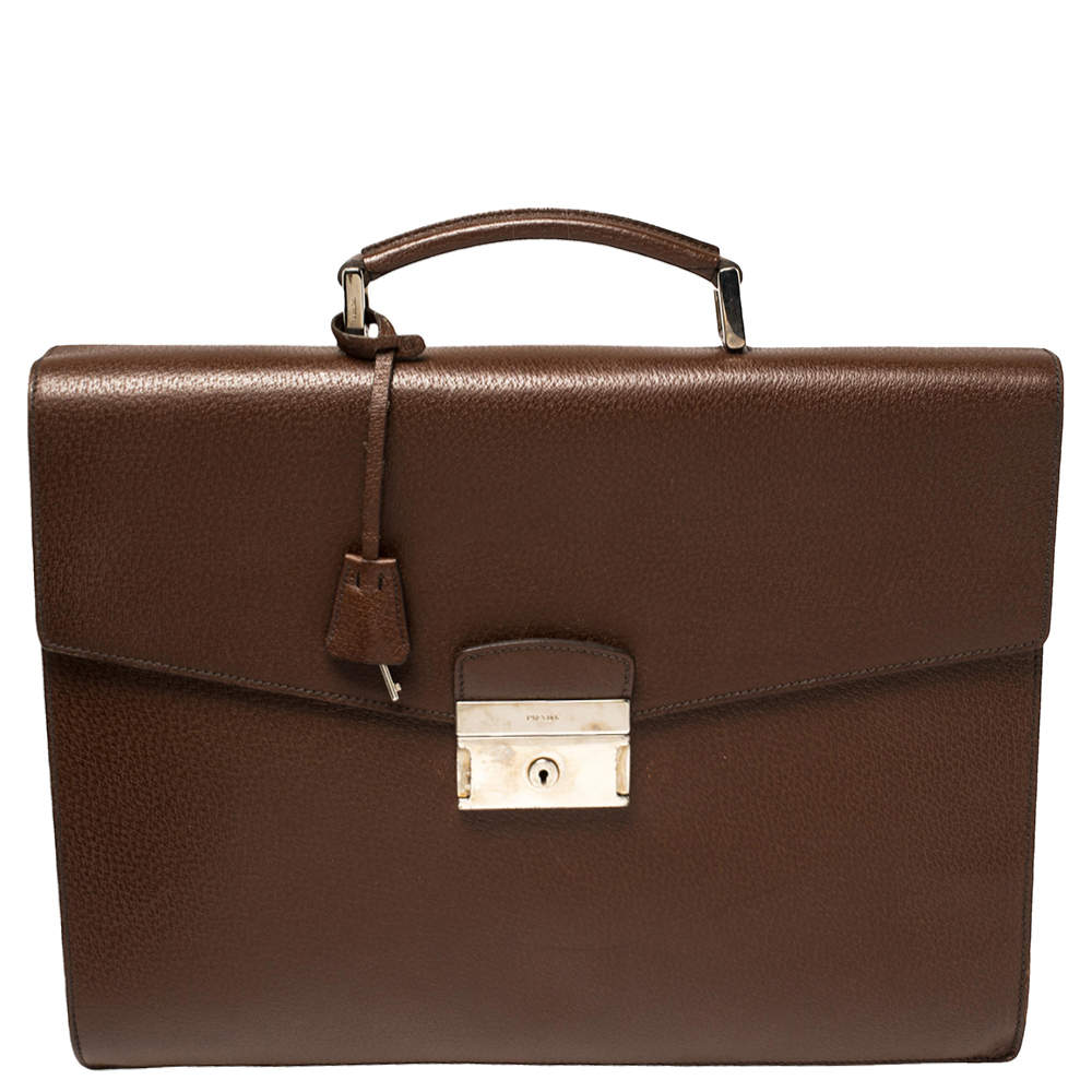Prada Mocha Brown Leather Work Briefcase