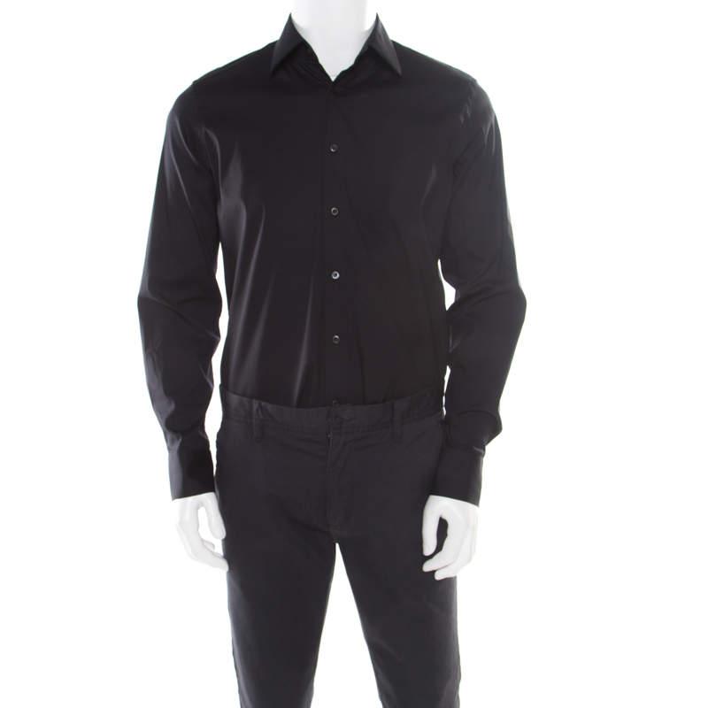 Prada Black Cotton Stretch Button Front Long Sleeve Shirt L