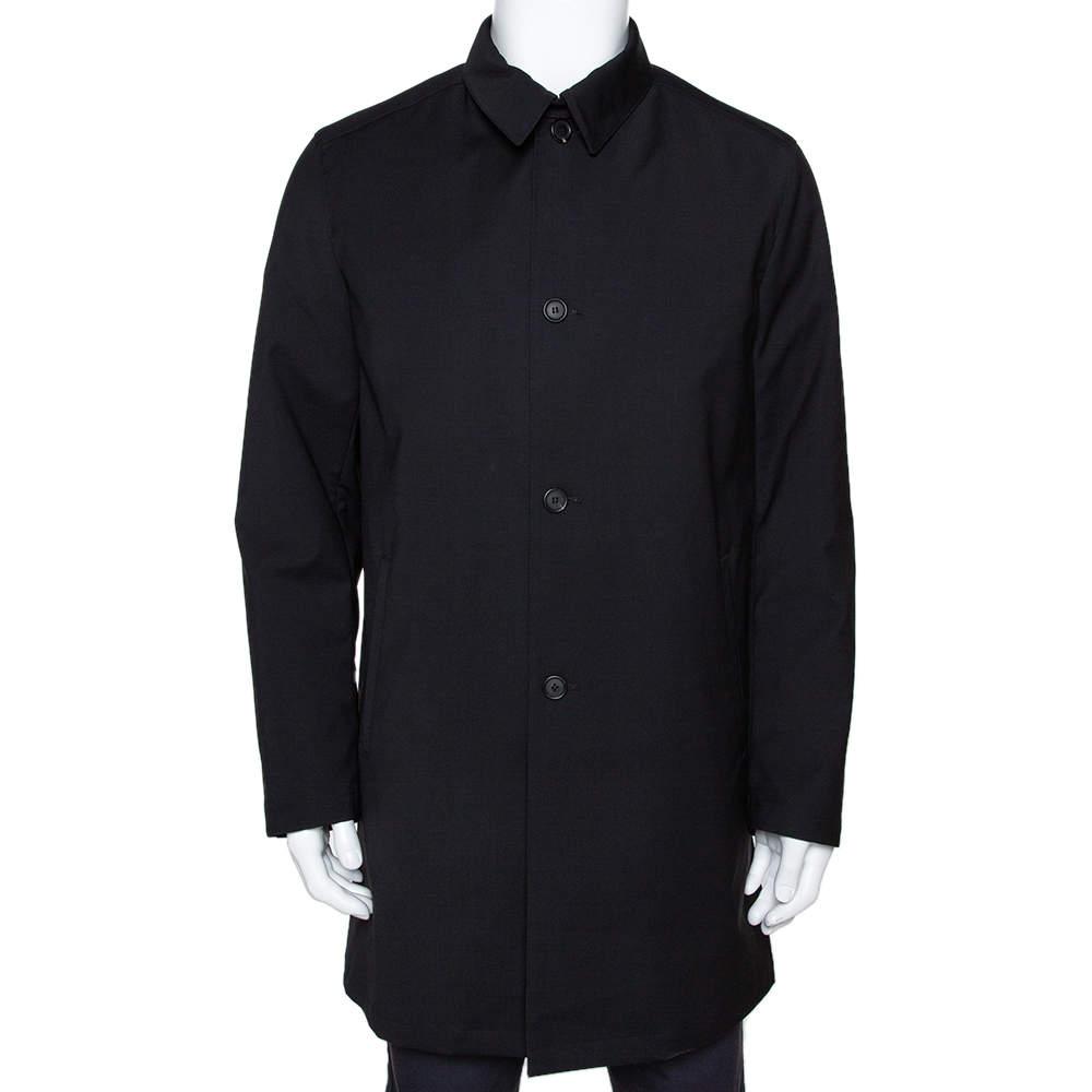 Prada Black Coated Nylon Button Front Coat L